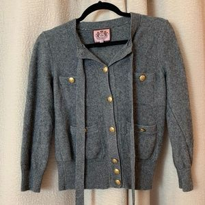 Juicy Couture Gray Military Cardigan Sz Small
